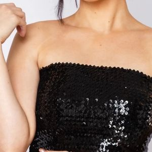 CROPPED SEQUIN Ruffle Black Tube Top